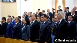 Депутаты парламента Таджикистана. Душанбе, 17 марта 2015 года.