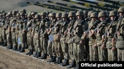 Nagorno-Karabakh - Karabakh Armenian troops pictured after a military exercise, 20Nov2015.