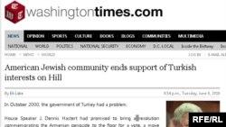 Armenia -- Screenshot form Washington Times website, 09Jun10
