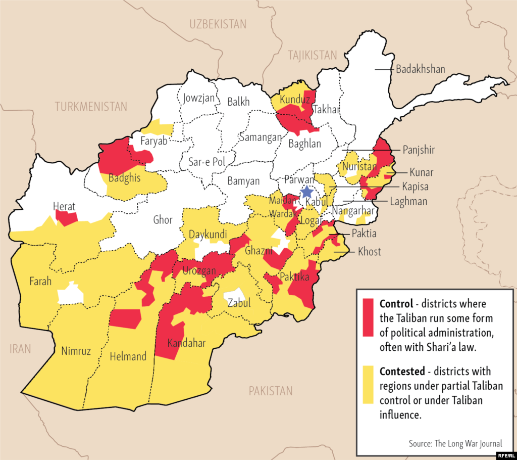 Drag the slider to see how the Taliban has gained ground in Afghanistan.