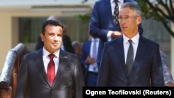 Macedonian Prime Minister Zoran Zaev and NATO Secretary-General Jens Stoltenberg. (file photo)