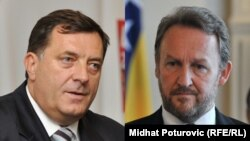 Milorad Dodik, president of Republika Srpska (left), and Bakir Izetbegovic, the Bosniak member of Bosnia's tripartite presidency (combo photo)