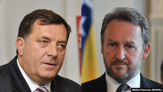 Milorad Dodik, president of Republika Srpska (left), and Bakir Izetbegovic, Bosniak member of the Presidency of Bosnia-Herzegovina, have engaged in a worringly similar war of words to that which launched the 1992-95 war.