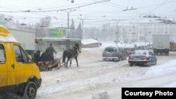Конная таксоўка. Віцебск. Фота «Белсат»