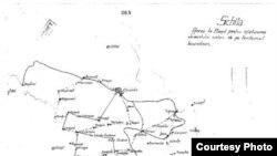 """O hartă din 1941, intitulată """"Anexă la planul de înlăturare a elementului iudaic de pe teritoriul basarabean"""" arată satele cu populație evreiească care urmeau să fie atacate de echipe de civili înarmați. (Muzeul Holocaustului de la Washington, din arhivele marelui stat major al armatei române)."""