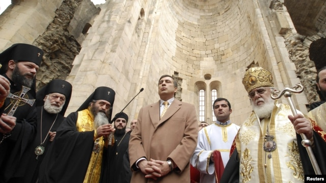 Georgian Patriarch Ilia II (right) blesses Mikheil Saakashvili (center) in the 11th-century Bagrati Cathedral after the latter's reelection as president in 2008.