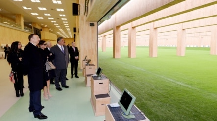 Azerbaijan -- President Ilham Aliyev attends the opening of the Baku Shooting Center - 09Mar2015