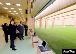 Prezident İlham Əliyev Bakı Atıcılıq Mərkəzinin açılışında. 9 mart 2015