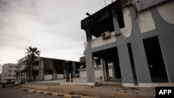 Pamje e një ndërtese qeveritare të dëmutar në qytetin Derna në Libi