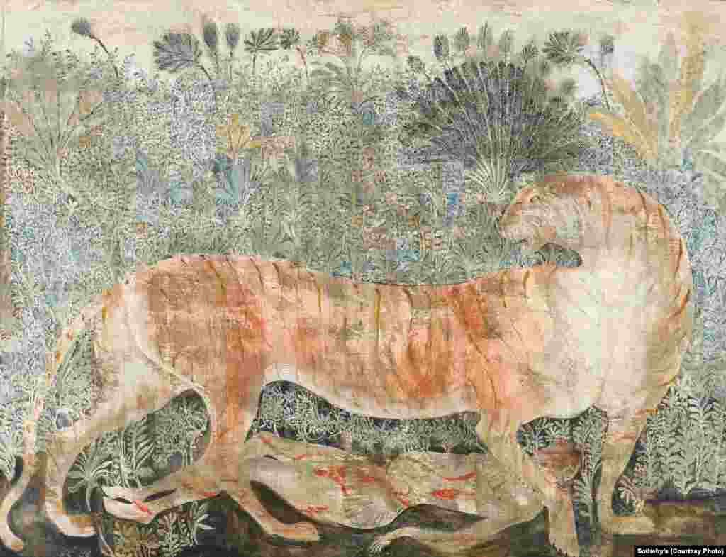 """""""Maneater of Kumaon,"""" a 2005 tempera painting by Georgia's Merab Abramishvili (1957-2006). It is one of nearly 50 works by artists from the Caucasus and Central Asia featured in a special exhbition at Sotheby's in London."""
