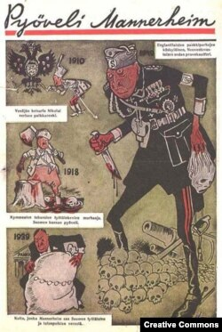 """Коммунистический пропагандистский плакат времен советско-финской войны с изображением """"мясника"""" Маннергейма"""