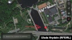 Прыблізнае месца сьмяротнага раненьня жанчыны падчас салюту 3 ліпеня ў Менску на мапе Google