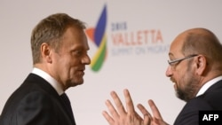Голова Європейської ради Дональд Туск (л) і президент Європарламенту Мартін Шульц