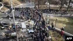 Киевтегі үкіметке қарсы шерулер. 21 ақпан 2014 жыл.