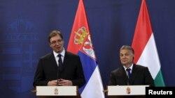 VIktor Orban (djathtas) dhe Aleksandar Vuçiq gjatë konferencës së djeshme për shtyp në Bugapest