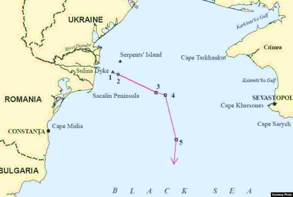 Карти району острова Зміїний із рішення Міжнародного суду – карта 3 - Лінія розмежування відповідно до рішення Суду
