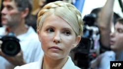 Yulia Tymoshenko at the beginning of her court hearing in Kyiv on June 24, 2011.