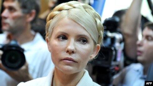 Yulia Tymoshenko at the beginning of her court hearing in Kyiv on June 24, 2011.