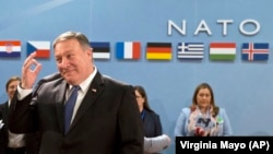BELGIUM -- U.S. Secretary of State Mike Pompeo waits for the start of the North Atlantic Council at NATO headquarters in Brussels, April 27, 2018