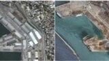 A combination of satellite images shows the port of Beirut on June 9, 2020 and on August 5, 2020, after an explosion