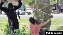 The Amnesty statement included an image used in Iranian news coverage of the incident, showing a young man tied to a tree as he was being flogged by a masked man. The rights watchdog said it could not independently verify whether it was a photo of the actual flogging in question.