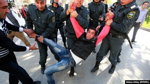 On October 20, police rounded up dozens of protesters at an unsanctioned rally in central Baku, roughed them up, and forced them into police cars and buses, according to a Human Rights Watch report.