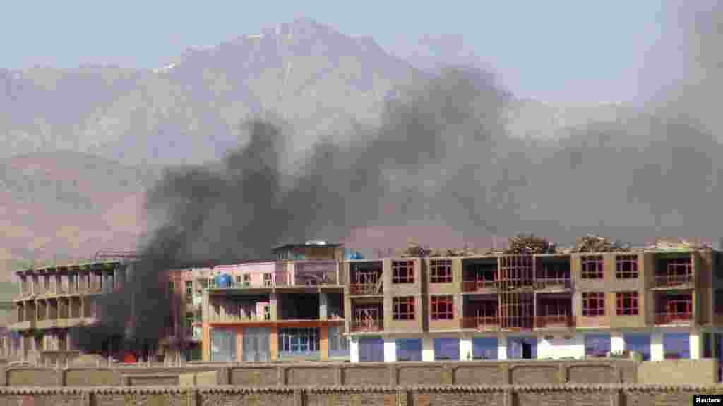Smoke rises from the site of an attack in Paktia Province. (REUTERS)