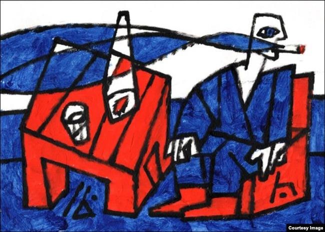 Адам Глобус, «Радасьці быцьця», 2016 год. Папера, акрыл 21×30 см