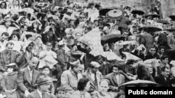 Iranian men and women attending a soccer match in Amjadyeh stadium in Tehran, circa 1960.
