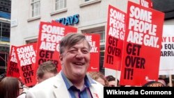 British author and writer Stephen Fry at London's WorldPride parade last year.