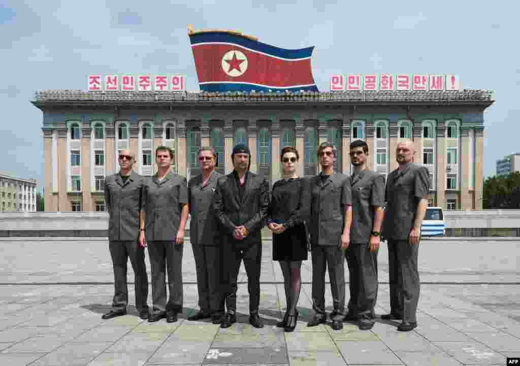 "Members of the Slovenian rock band Laibach pose for a photo in Pyongyang, North Korea. With a 45-minute set that included cover versions of ""Edelweiss"" and ""Do-Re-Mi"" from the ""Sound of Music,"" Laibach became the first foreign rock band to play a gig in North Korea. (AFP/Mute/Joerund F. Pedersen)"
