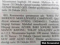 «Baku F1» MMC (qəzetdən screenshot)