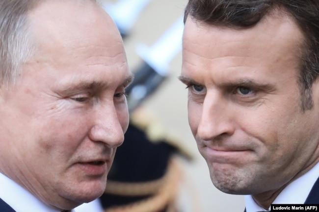 Владимир Путин и Эммануэль Макрон на переговорах в Париже, 9 декабря 2019 года