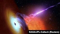 Черная дыра, окруженная аккреционным диском падающего на нее вещества. Реконструкция