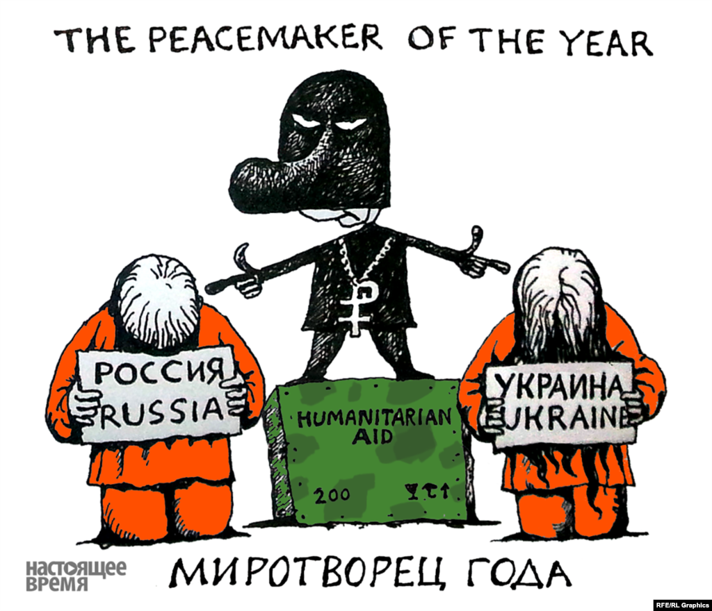 """Peacemaker of the Year"": Vladimir Putin as a terrorist with two hostages"