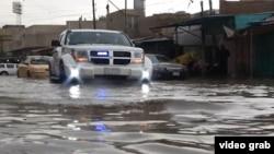 فيضان في شوارع بغداد بسبب الأمطار الغزيرة