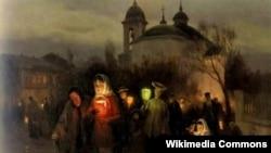 Мікалай Піманенка, «Выхад з царквы ў Вялікі Чацьвер» (1905)