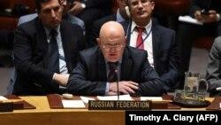 ՄԱԿ-ում Ռուսաստանի դեսպան Վասիլի Նեբենզյան Անվտանգության խորհրդի նիստի ժամանակ, Նյու Յորք, 14-ը մարտի, 2018թ․