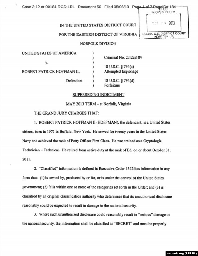 The indictment against Hoffman