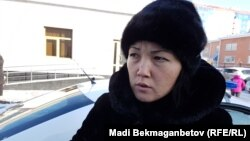 Өзін өртеген Майра Рысманованың қызы Ақмарал Ахметова. Астана, 7 желтоқсан 2016 жыл.