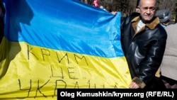 Куртсеит Абдуллаев на акции в честь годовщины Дня рождения Шевченко, Симферополь, 9 марта 2015 года