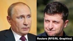 Владимир Путин (слева), Владимир Зеленский