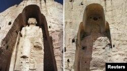 55-метровая статуя Будды: фото, сделанное в 1997 году (слева) и фото, снятое в 2001 году после разрушения памятника талибами.
