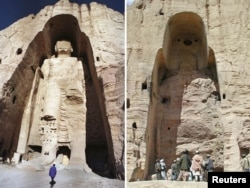 A combination photo of a 55-metre-high Buddha statue in Bamiyan. The image on the right was taken after the monument was destroyed by the Taliban in 2001.