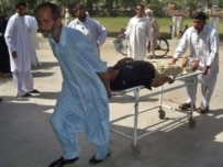 A police casualty from the May 6 bombing in Bannu (AFP)