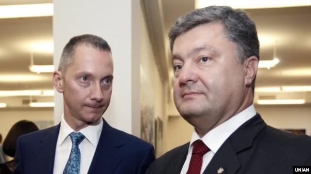 Media mogul Boris Lozhkin (left) with Ukrainian President Petro Poroshenko