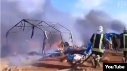 تصاویر منتشر شده در ارتباط با حمله هوایی به یک اردوگاه آوارگان