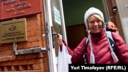 Environmental activist Yevgenia Chirikova leaves a court building in Moscow on April 10.
