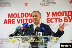 Moldova's President-elect Igor Dodon speaks to the media on November 14.