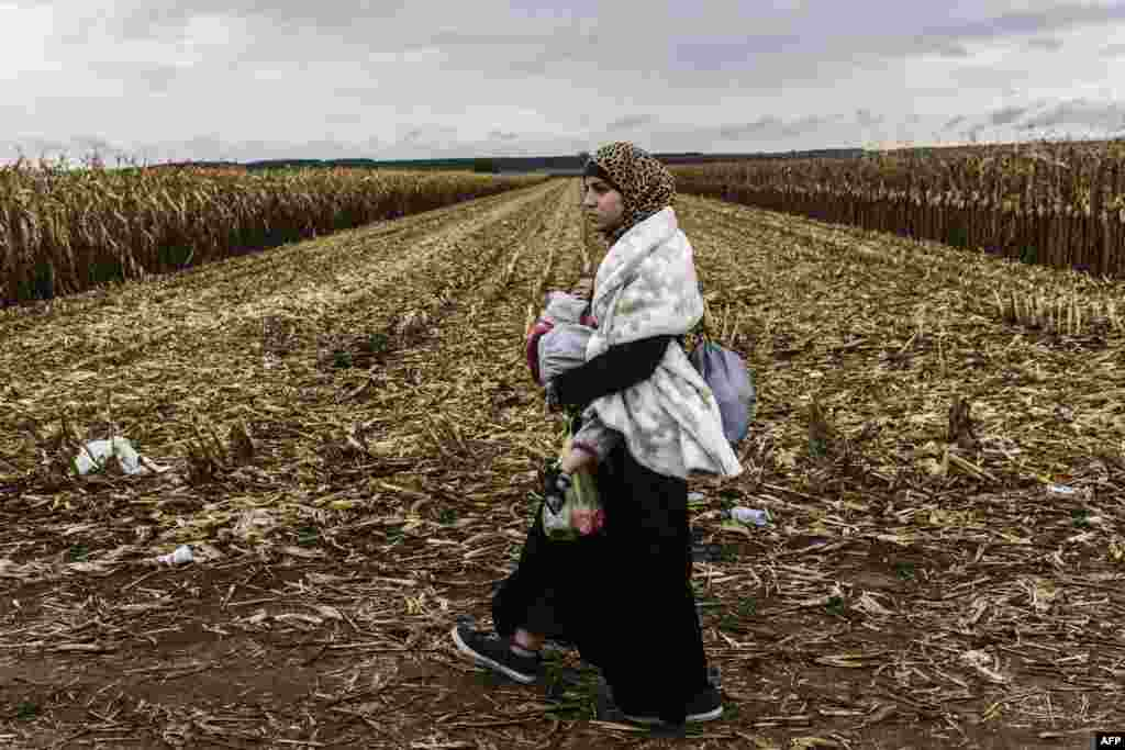 A migrant woman carries her child on a dirt road toward the Serbia-Croatia border, near the western Serbia town of Sid. Hungary on September 20 reopened its main border crossing with Serbia, whose closure led thousands of migrants to surge into Croatia and resulted in the shunting of the desperate flood of humanity from one country to another. (AFP/Armend Nimani)
